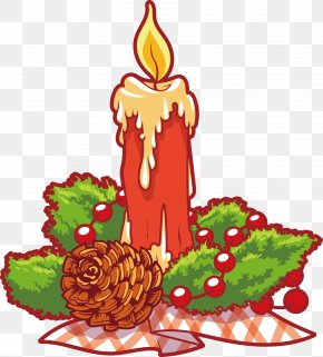 Vector Cartoon Candle - Christmas Tree Candle Clip Art PNG