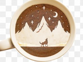 Night Wolf Coffee Pull Flowers - Coffee Latte Cafe Leftovers Painting PNG