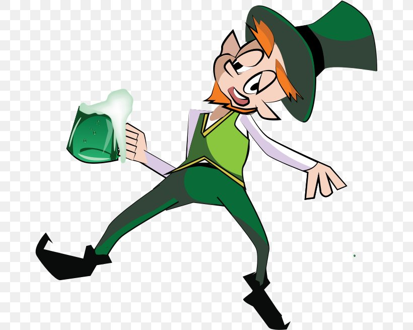 Beer Leprechaun Saint Patrick's Day Clip Art, PNG, 679x655px, Beer, Alcohol Intoxication, Alcoholic Drink, Cartoon, Clover Download Free