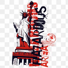 Statue Of Liberty Stamp - Statue Of Liberty Printed T-shirt Clothing PNG