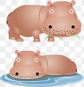 Cartoon Hippo - Hippopotamus Lion Giraffe Euclidean Vector PNG