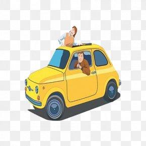 Yellow Cartoon Driving - Fiat 500 Cartoon Automotive Design Drawing PNG