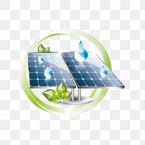 Vector Solar And Water Droplets - Solar Panel Solar Power Solar Energy PNG