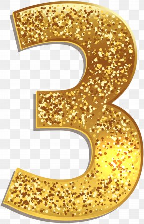 Number Three Gold Shining Clip Art Image - Number Gold Clip Art PNG