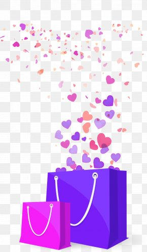 Vector Illustration Love Floated Shopping Bag - Euclidean Vector Shopping Computer File PNG
