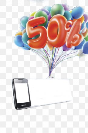 Phone Billboard With Balloons - 3D Computer Graphics Download Clip Art PNG