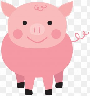 Farm - Paper Clip Domestic Pig Baby Shower Clip Art PNG