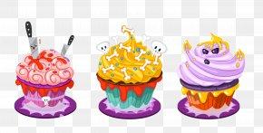 Halloween Cake - Cupcake Halloween Cake Candy Corn Clip Art PNG