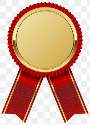 Gold Medal With Red Ribbon Clipart Image - Ribbon Clip Art PNG