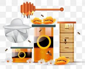 Bee - Honey Bee Honeycomb PNG