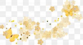 Orange Butterfly Flowers - Yellow Petal Pattern PNG