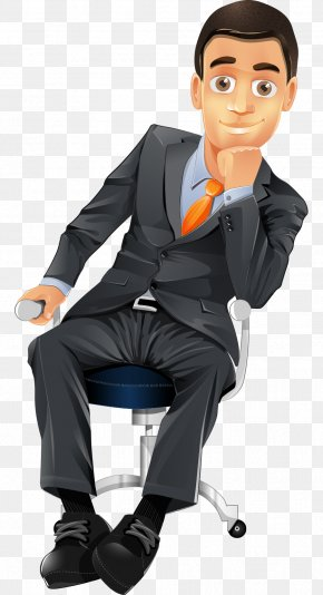 Hand-painted Cartoon Business Man Sitting On A Chair - Cartoon Character Businessperson PNG