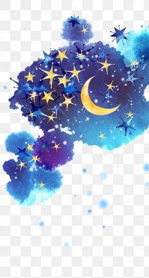 Painted Night Sky - Star Moon Night Sky PNG