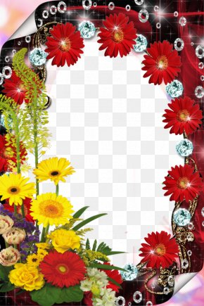 Red Flower Frame File - Picture Frame Photography PNG