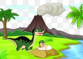 Volcanoes And Dinosaurs - Cartoon Dinosaur Volcano Illustration PNG