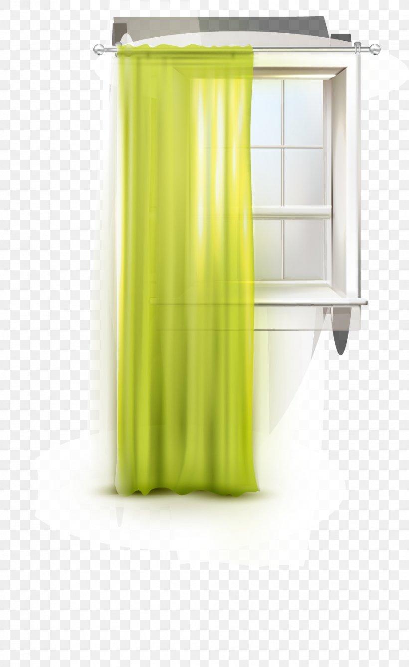 Window Curtain Green Designer Png 919x1497px Window