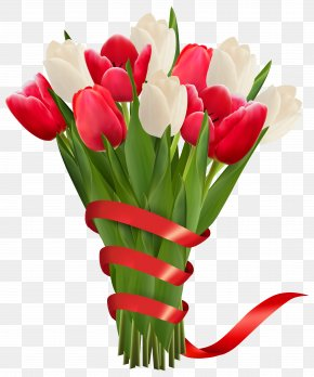 White And Red Tulips With Ribbon Clipart Image PNG