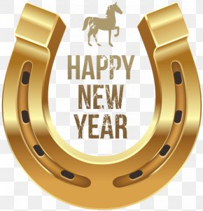 Happy New Year Metallic Horseshoe - Horse Chinese New Year Wish Clip Art PNG