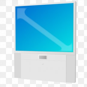 Hand-painted Blue TV - Television Set Computer Monitor Flat Panel Display Rectangle PNG