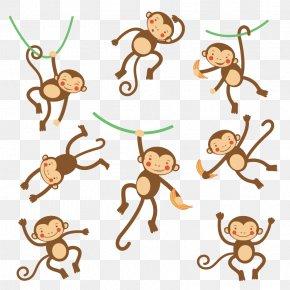 Flat Cartoon Monkey - Monkey Cartoon Illustration PNG