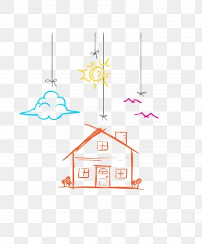 Vector Colors Linear Creative Clouds Small House - Drawing Tree House Child PNG