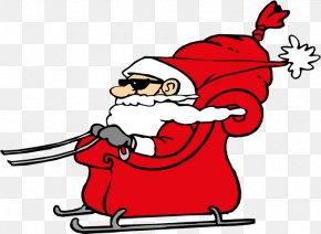 Santa Claus - Santa Claus Christmas Sled Rudolph Clip Art PNG