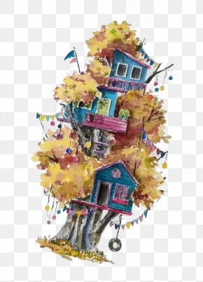 Watercolor House - The Yellow House Watercolor Painting Graphic Design PNG