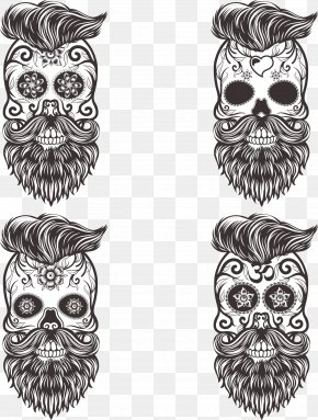 Vector Painted Mustache Skull - Calavera Skull Euclidean Vector Drawing Day Of The Dead PNG
