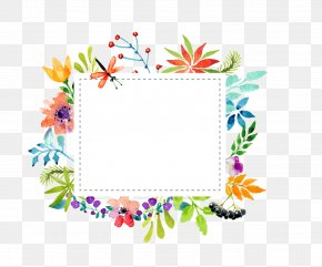 Watercolor Flowers Border Vector Material PNG