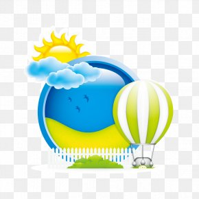 Clouds And Sun Hot Air Balloon - Hot Air Balloon Clip Art PNG