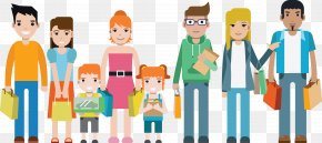 Big Family Vector - Shopping Family Flat Design Child PNG