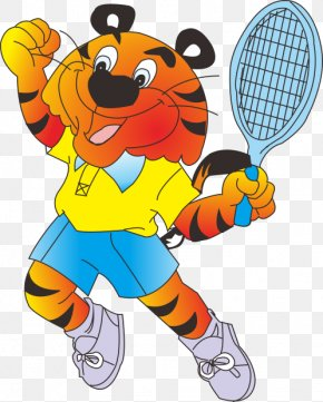 Tennis Tiger - Tiger Lion Leopard Drawing Clip Art PNG