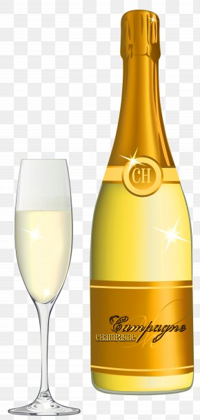 Champagne And Glass Vector Clipart Image - Champagne Cocktail Champagne Cocktail Beer Clip Art PNG