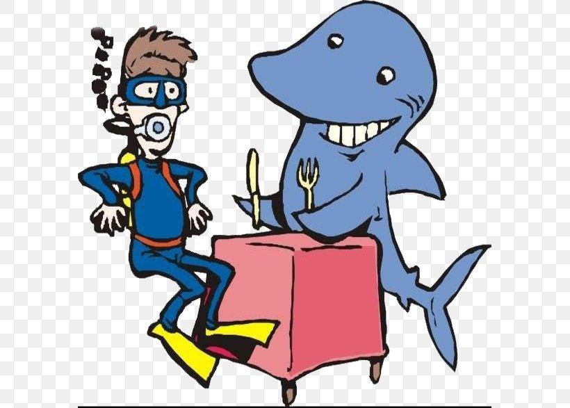 Shark Underwater Diving Cartoon Illustration, PNG, 595x587px, Shark, Art, Artwork, Cartoon, Diver Download Free