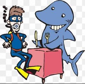 Diver Encounters Sharks - Shark Underwater Diving Cartoon Illustration PNG