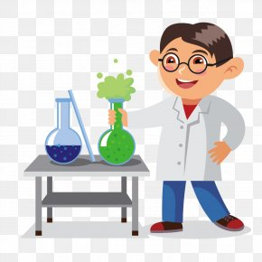 Vector Chemistry Teacher - Cartoon Chemistry Classroom Illustration PNG