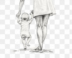 Mother Holding A Child Walking Hand-drawn Sketch - Mother Drawing Child Sketch PNG
