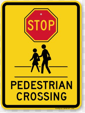 Stop Sign Graphic - Pedestrian Crossing Safety Traffic Sign PNG