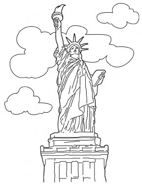 Coloring Book Page Of Statue Of Liberty - Statue Of Liberty New York Harbor The New Colossus Coloring Book Drawing PNG