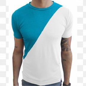T-shirt - T-shirt Blue Sleeve Collar PNG