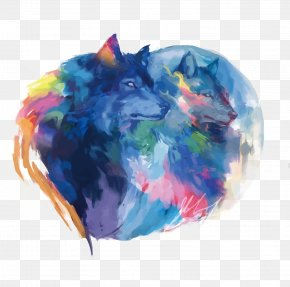 Watercolor Blue Wolf - Gray Wolf Watercolor Painting Drawing Digital Art PNG