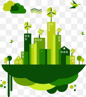 Cartoon Flat Green City - Sustainability Location Research Building Management PNG