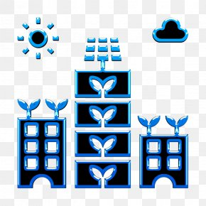 Electric Blue Vertical Icon - Agriculture Icon City Icon Farm Icon PNG