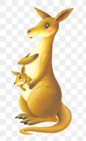 Cartoon Kangaroo Mother And Son - Kangaroo Belle Cartoon Illustration PNG