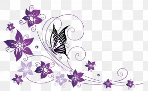Butterfly Border - Butterfly Net Violet Tendril Flower PNG