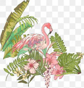 Hand-painted Flowers - T-shirt Flamingo PNG