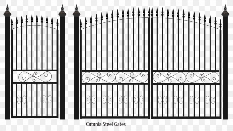 Fence Gate Wrought Iron Steel Sheet Metal, PNG, 1920x1080px, Fence, Balcony, Black And White, Cast Iron, Door Download Free