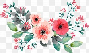 Red Hand Painted Watercolor Rose Flower Vine - Wedding Invitation Flower Watercolor Painting PNG