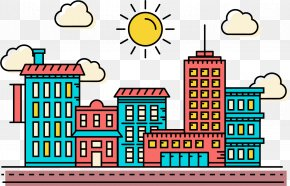 Linear Seaside City Vector Illustration - Euclidean Vector Illustration PNG