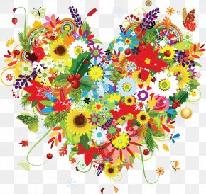 HEART FLOWER - Flower Heart Drawing Clip Art PNG